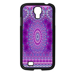 India Ornaments Mandala Pillar Blue Violet Samsung Galaxy S4 I9500/ I9505 Case (black) by EDDArt