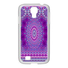 India Ornaments Mandala Pillar Blue Violet Samsung Galaxy S4 I9500/ I9505 Case (white) by EDDArt