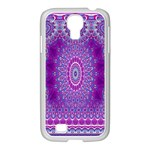 India Ornaments Mandala Pillar Blue Violet Samsung GALAXY S4 I9500/ I9505 Case (White) Front