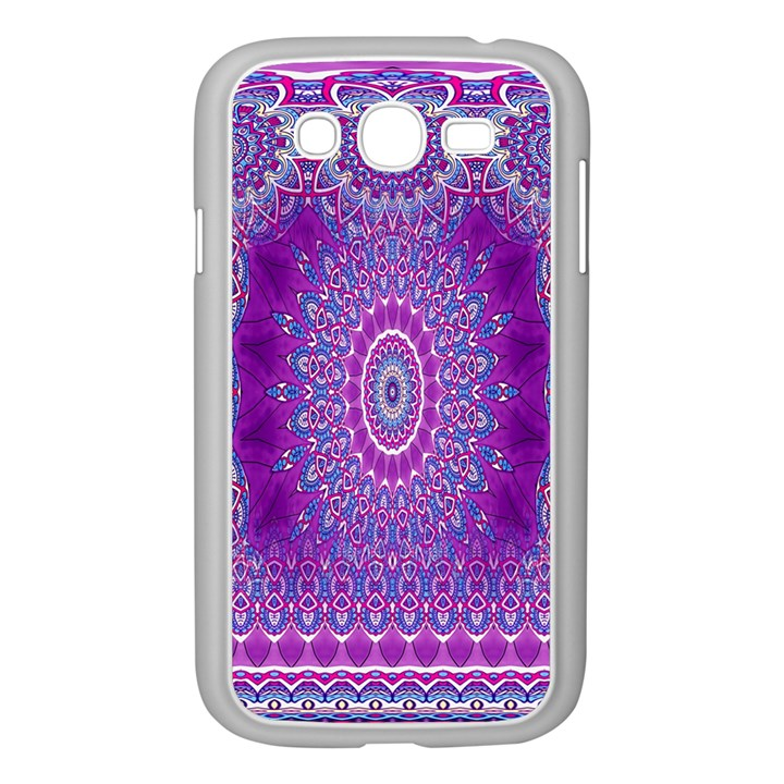India Ornaments Mandala Pillar Blue Violet Samsung Galaxy Grand DUOS I9082 Case (White)