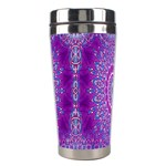 India Ornaments Mandala Pillar Blue Violet Stainless Steel Travel Tumblers Left