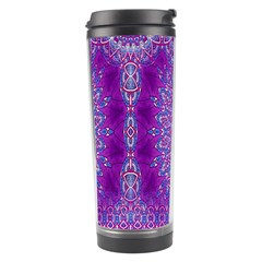 India Ornaments Mandala Pillar Blue Violet Travel Tumbler by EDDArt