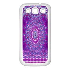 India Ornaments Mandala Pillar Blue Violet Samsung Galaxy S3 Back Case (white) by EDDArt