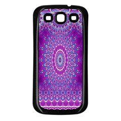 India Ornaments Mandala Pillar Blue Violet Samsung Galaxy S3 Back Case (black) by EDDArt