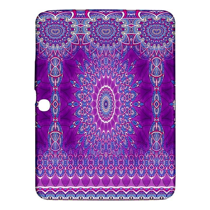 India Ornaments Mandala Pillar Blue Violet Samsung Galaxy Tab 3 (10.1 ) P5200 Hardshell Case