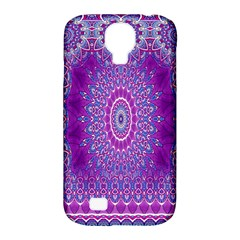 India Ornaments Mandala Pillar Blue Violet Samsung Galaxy S4 Classic Hardshell Case (pc+silicone) by EDDArt