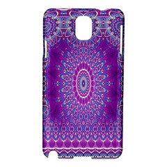 India Ornaments Mandala Pillar Blue Violet Samsung Galaxy Note 3 N9005 Hardshell Case by EDDArt