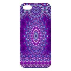 India Ornaments Mandala Pillar Blue Violet iPhone 5S/ SE Premium Hardshell Case
