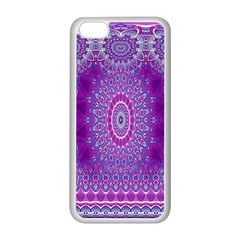 India Ornaments Mandala Pillar Blue Violet Apple Iphone 5c Seamless Case (white) by EDDArt