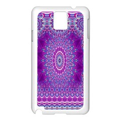 India Ornaments Mandala Pillar Blue Violet Samsung Galaxy Note 3 N9005 Case (white) by EDDArt