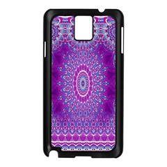 India Ornaments Mandala Pillar Blue Violet Samsung Galaxy Note 3 N9005 Case (black) by EDDArt