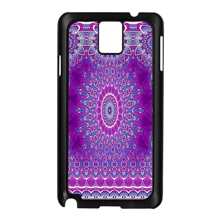 India Ornaments Mandala Pillar Blue Violet Samsung Galaxy Note 3 N9005 Case (Black)