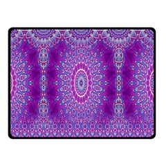 India Ornaments Mandala Pillar Blue Violet Double Sided Fleece Blanket (small)  by EDDArt