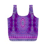India Ornaments Mandala Pillar Blue Violet Full Print Recycle Bags (M)  Front