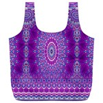 India Ornaments Mandala Pillar Blue Violet Full Print Recycle Bags (L)  Back