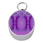 India Ornaments Mandala Pillar Blue Violet Mini Silver Compasses Front