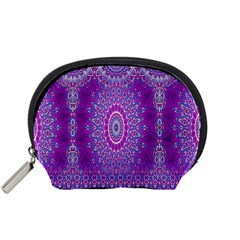 India Ornaments Mandala Pillar Blue Violet Accessory Pouches (small)