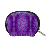 India Ornaments Mandala Pillar Blue Violet Accessory Pouches (Small)  Back