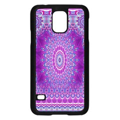India Ornaments Mandala Pillar Blue Violet Samsung Galaxy S5 Case (black) by EDDArt