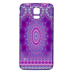 India Ornaments Mandala Pillar Blue Violet Samsung Galaxy S5 Back Case (white) by EDDArt