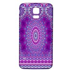 India Ornaments Mandala Pillar Blue Violet Samsung Galaxy S5 Back Case (White) Front