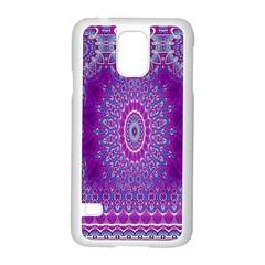 India Ornaments Mandala Pillar Blue Violet Samsung Galaxy S5 Case (White)