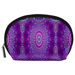 India Ornaments Mandala Pillar Blue Violet Accessory Pouches (large)  by EDDArt