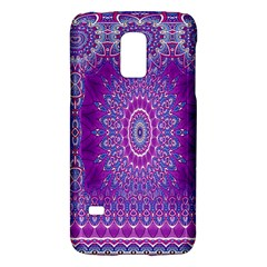 India Ornaments Mandala Pillar Blue Violet Galaxy S5 Mini by EDDArt