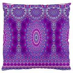 India Ornaments Mandala Pillar Blue Violet Large Flano Cushion Case (one Side) by EDDArt