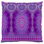 India Ornaments Mandala Pillar Blue Violet Large Flano Cushion Case (One Side) Front