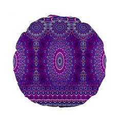 India Ornaments Mandala Pillar Blue Violet Standard 15  Premium Flano Round Cushions by EDDArt