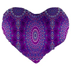 India Ornaments Mandala Pillar Blue Violet Large 19  Premium Flano Heart Shape Cushions by EDDArt