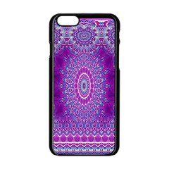 India Ornaments Mandala Pillar Blue Violet Apple Iphone 6/6s Black Enamel Case by EDDArt