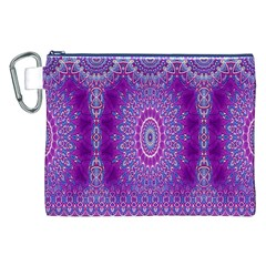 India Ornaments Mandala Pillar Blue Violet Canvas Cosmetic Bag (xxl) by EDDArt