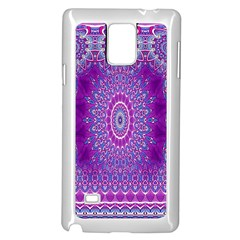 India Ornaments Mandala Pillar Blue Violet Samsung Galaxy Note 4 Case (white) by EDDArt