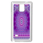 India Ornaments Mandala Pillar Blue Violet Samsung Galaxy Note 4 Case (White) Front