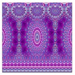 India Ornaments Mandala Pillar Blue Violet Large Satin Scarf (Square) Front