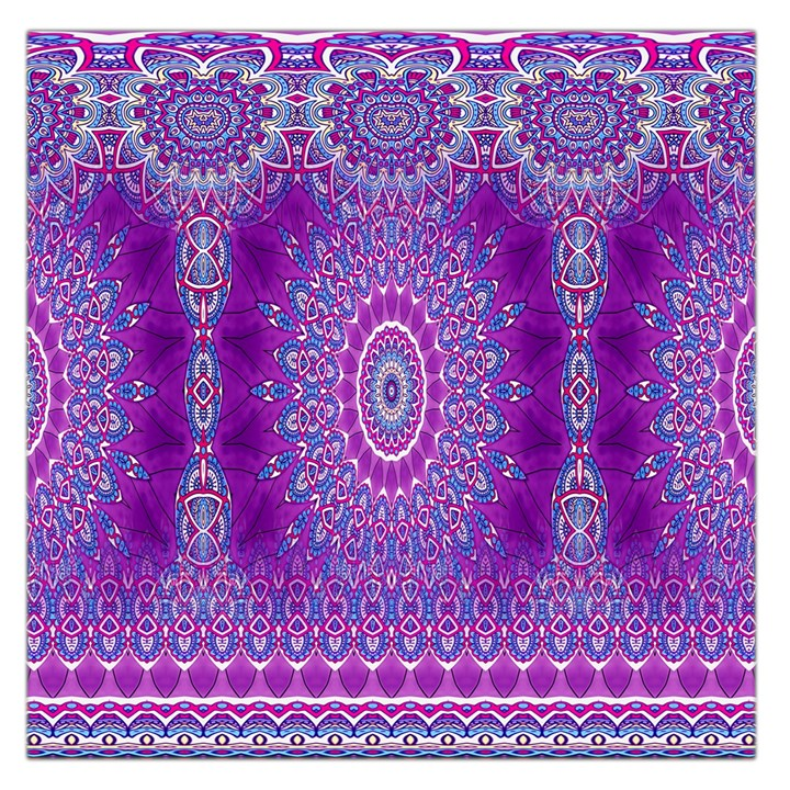India Ornaments Mandala Pillar Blue Violet Large Satin Scarf (Square)
