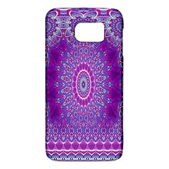 India Ornaments Mandala Pillar Blue Violet Galaxy S6 by EDDArt