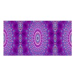 India Ornaments Mandala Pillar Blue Violet Satin Shawl