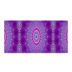 India Ornaments Mandala Pillar Blue Violet Satin Wrap by EDDArt