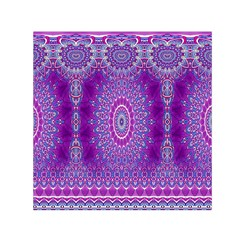 India Ornaments Mandala Pillar Blue Violet Small Satin Scarf (square) by EDDArt
