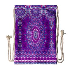 India Ornaments Mandala Pillar Blue Violet Drawstring Bag (large) by EDDArt