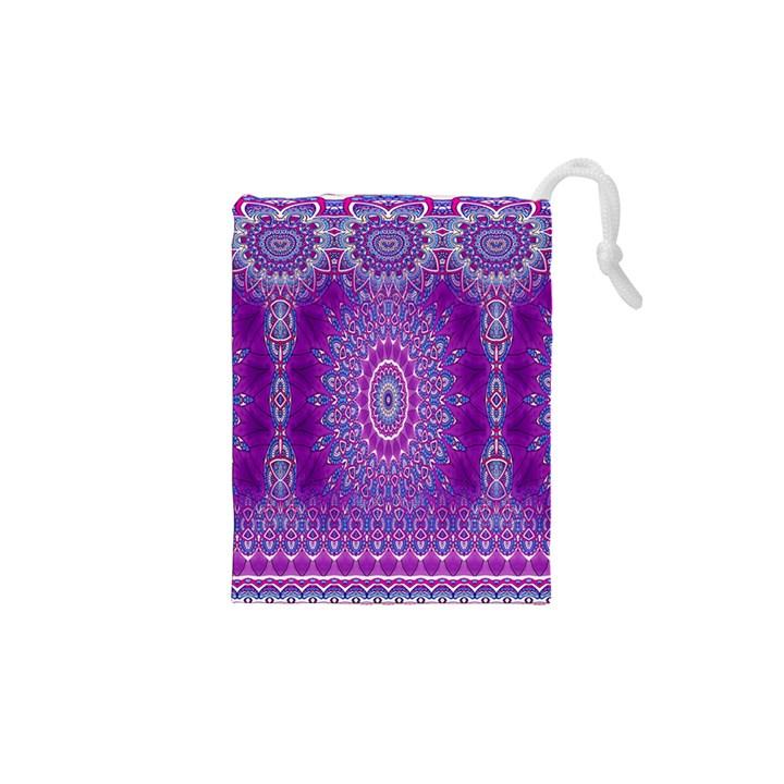India Ornaments Mandala Pillar Blue Violet Drawstring Pouches (XS)