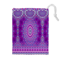 India Ornaments Mandala Pillar Blue Violet Drawstring Pouches (extra Large) by EDDArt