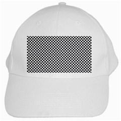 Sports Racing Chess Squares Black White White Cap