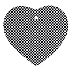 Sports Racing Chess Squares Black White Ornament (heart)  by EDDArt