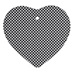 Sports Racing Chess Squares Black White Ornament (Heart)  Front