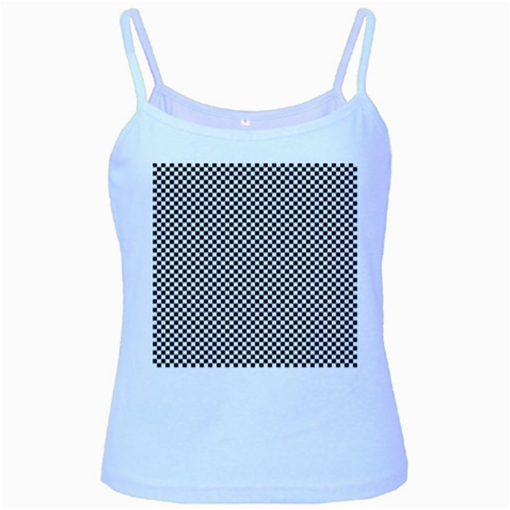Sports Racing Chess Squares Black White Baby Blue Spaghetti Tank