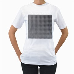 Sports Racing Chess Squares Black White Women s T Shirt (white) (two Sided)